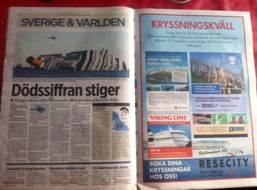 Awkward Ad Placement,Costa Concordia,Unfortunate Juxtaposition