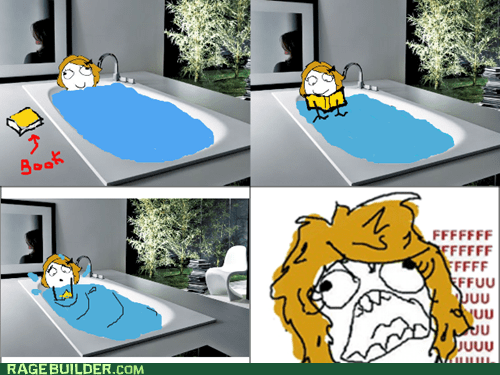 bath,book,fu gal,Rage Comics,wet