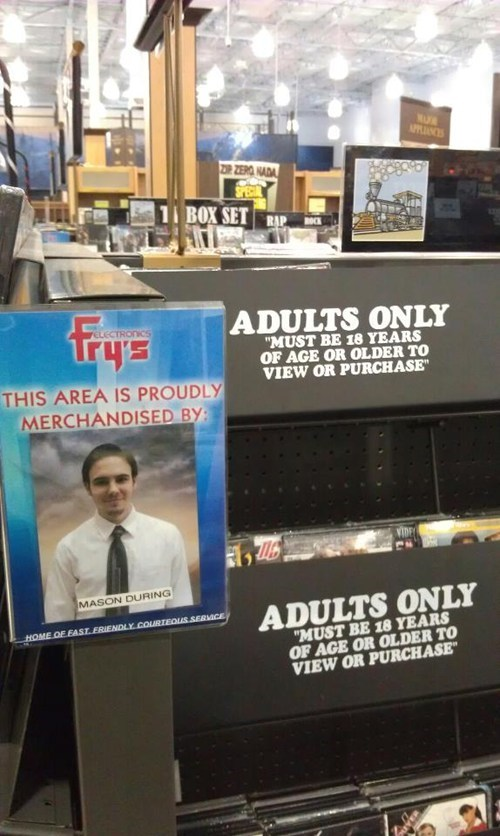adults only section,frys,pr0n,proud employee
