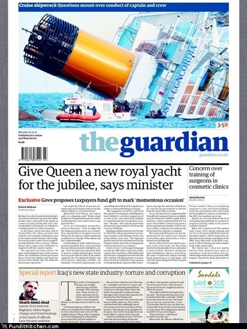 cruise ship FAIL political pictures Queen Elizabeth II the guardian