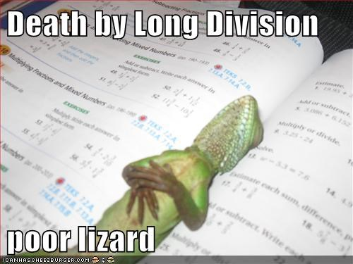 Death by Long Division poor lizard