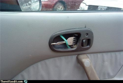 cars driving dual use fork silverware