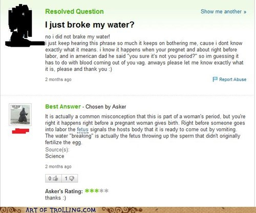 birth broken water fetus Yahoo Answer Fails - 5701364992