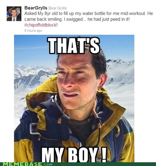 bear grylls,block,chip,pee,son