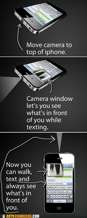 camera,collision,iphone,redesign,texting while walking