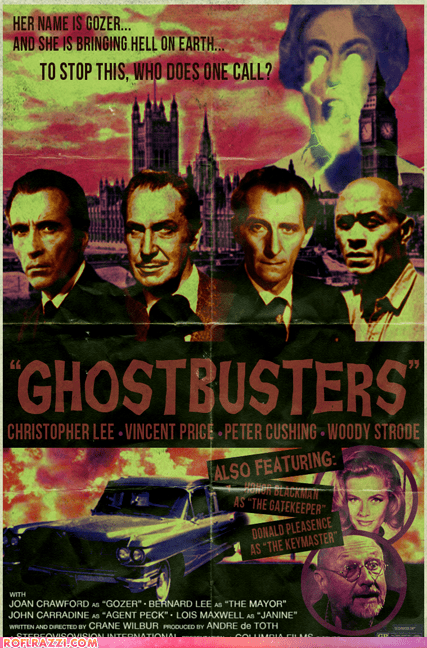 alternate universe art Christopher Lee funny Ghostbusters Movie peter cushing poster vincent price woody strode - 5701683200