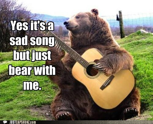 animals bear bear playing guitar bear with me caption contest folk music folk singer guitar photoshopped pun sad song