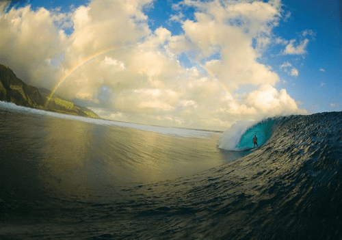 awesome,clouds,getaways,Hall of Fame,ocean,rainbow,surfing,tahiti,waves