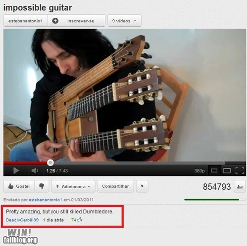 clever,comment,guitar,Harry Potter,snape,youtube,youtube commenters