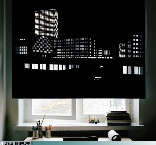 cityscape curtain cut out design shades view - 5702009856