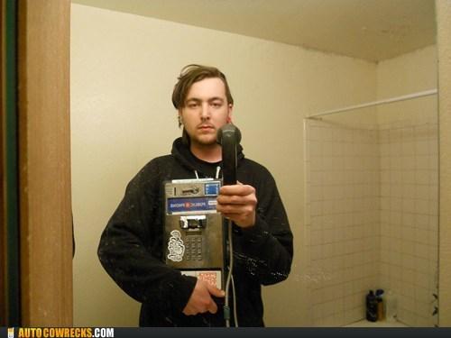 ironic pay phone self portrait self poortrait