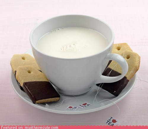 chocolate cookies cup epicute milk shortbread string tea tea bags - 5702136320