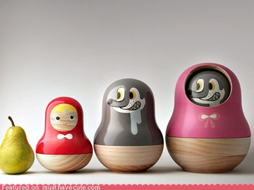 Little Red Riding Hood Matryoshka nesting dolls russian toys wood - 5702157824