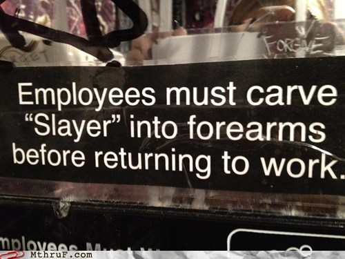 carve into forearm,metal,returning to work,slayer