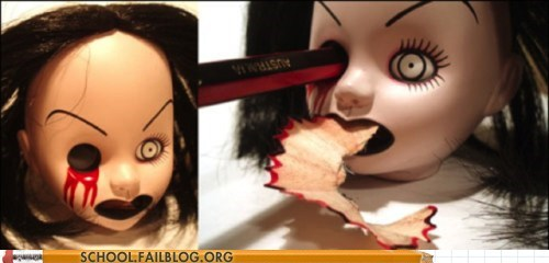creepy doll pencil sharpener
