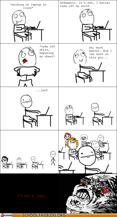 Awkward classroom Hall of Fame rage comic shirtless - 5702535680