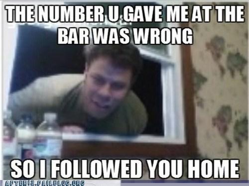 bar,drunk,phone number,pickup,stalker