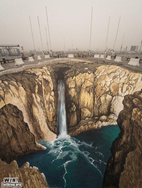 art chalk illusion Street Art waterfall - 5702849536