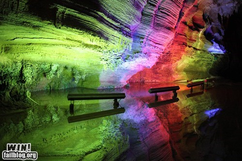 cave,lights,pretty colors,rainbow,spelunking