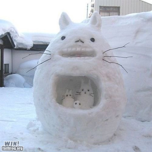 anime,art,cartoons,cute,sculpture,snowman,totoro