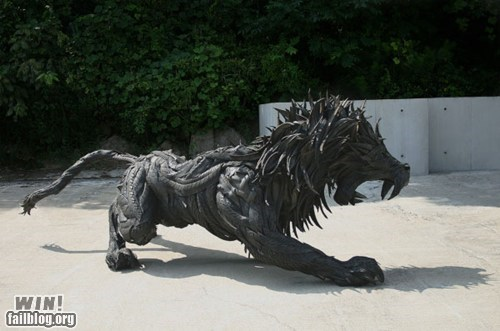 art,lion,Recycled,rubber,sculpture,tire