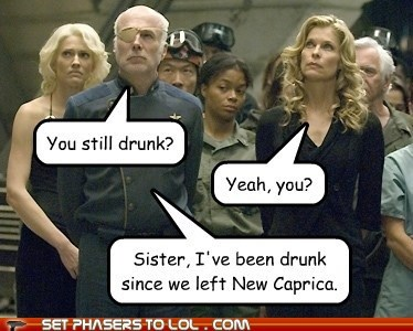 battlestar,Battlestar Galactica,Caprica,drunk,ellen tigh,kate vernon,michael hogan,new,number six,saul tigh,tricia helfer