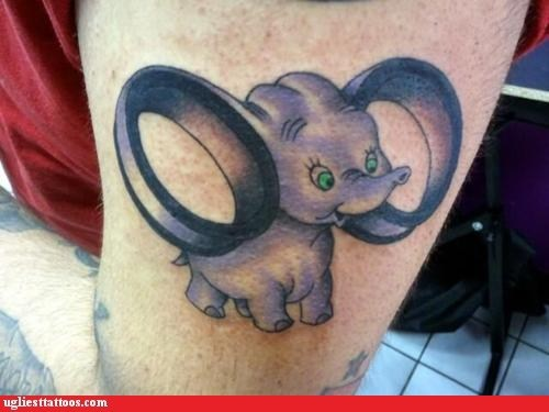 animals,comedy tats,disney,dumbo,ears,gauges,g rated,hipster,other bod mods,tattoos,Ugliest Tattoos
