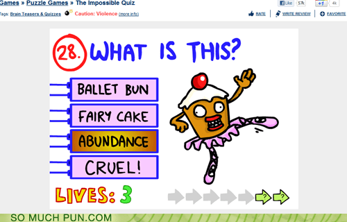 abundance,bun,dance,double meaning,game,homophones,impossible quiz,literalism
