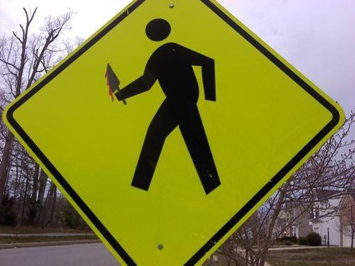 creepy,hacked irl,knife,murderer,sign,yield