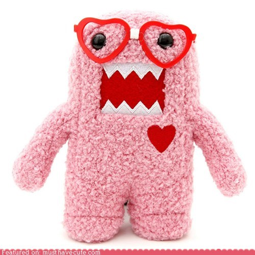 domo,glasses,heart,nerd,pink,Plush,Valentines day