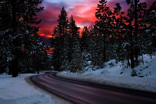 beautiful,Forest,getaways,Hall of Fame,peaceful,red,snow,sunset,trees,unknown location,winter