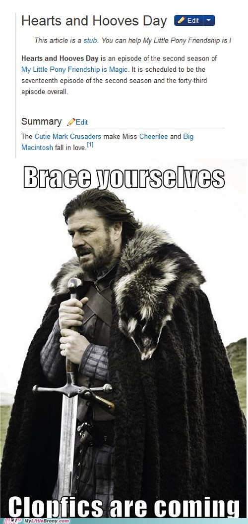 brace yourselves,clopfic,future episodes,meme,TV,valentines-episode