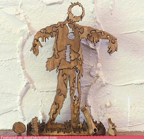 game jigsaw parts puzzle wood zombie