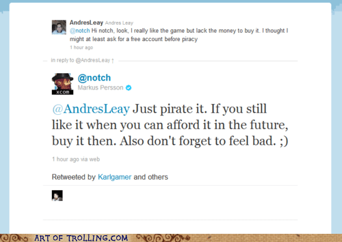 minecraft,notch,piracy