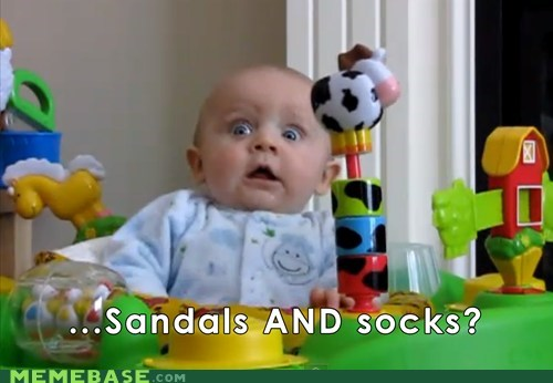 baby,Memes,sandals,socks,wtf