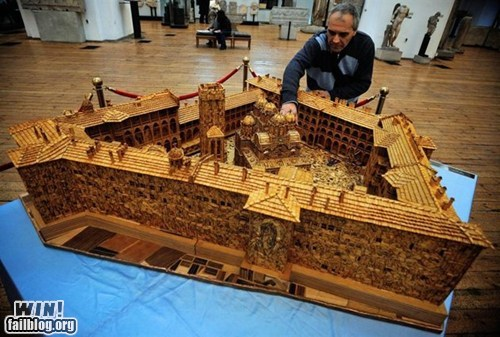 art,building,matchsticks,model,monastery