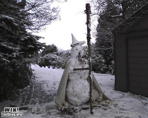 driveway,gandalf,Lord of the Rings,nerdgasm,snowman,win-g-rated,wizard,you shall not pass