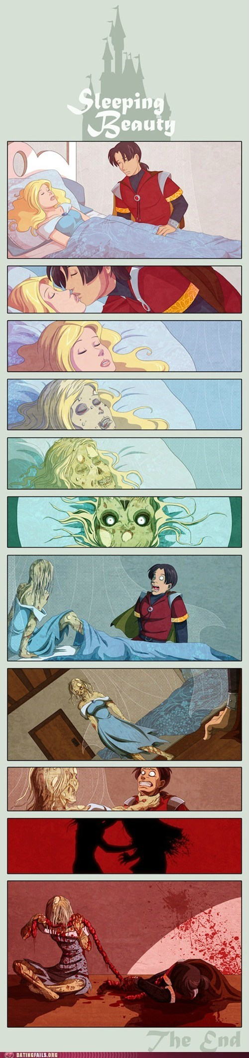 comic,disney,disney princess,Sleeping Beauty,true love,zombie