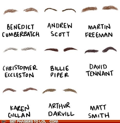 andrew scott,arthur darvill,benedict cumbertatch,billie piper,christopher eccleston,David Tennant,doctor who,eyebrows,karen gillan,Martin Freeman,Matt Smith,none,sherlock bbc