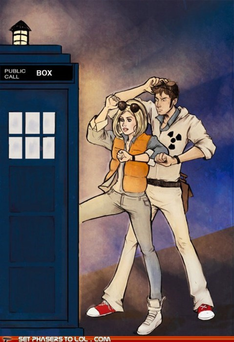 art,back to the future,David Tennant,doctor who,marty mcfly,rose tyler,tardis,the doctor