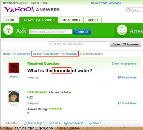 Chemistry,formula,formula one,Yahoo Answer Fails