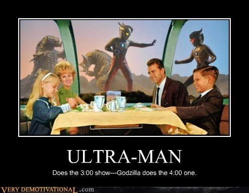 dinner,godzilla,hilarious,show,space,ultra man