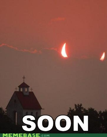church,moon,puns,SOON,sun