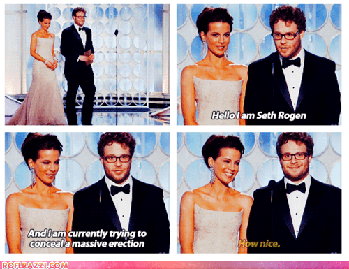 actor,celeb,funny,golden globes,kate beckinsale,Seth Rogen