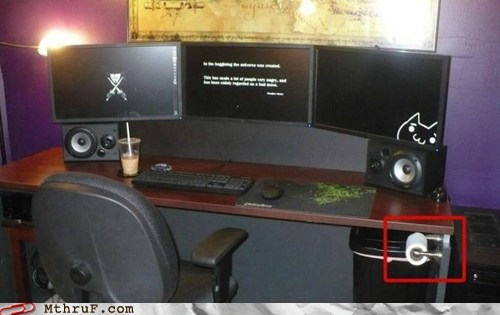 never have to leave,Skyrim,toilet paper at desk,ultimate gaming desk