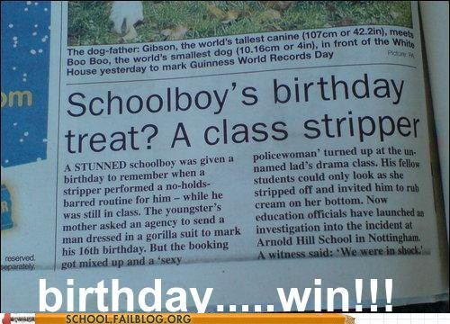 birthday classroom Hall of Fame high school stripper