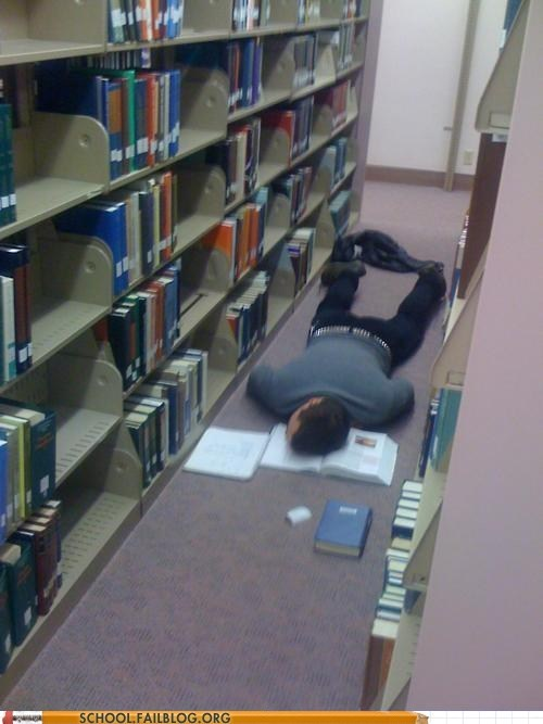 cramming,Death,floor,library,studying
