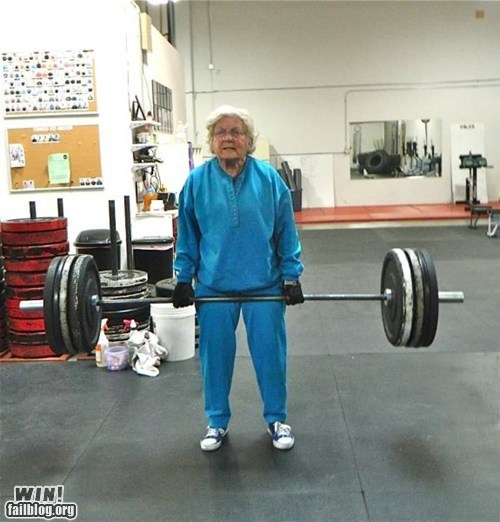 athletics,grandma,lifting,old people rock,sports,weight lifting,g rated,win