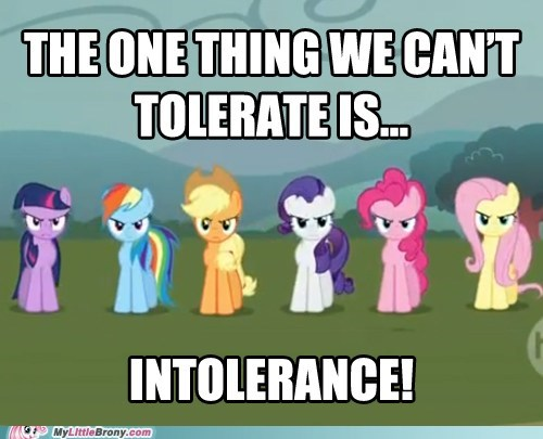 Bronies intolerance love and tolerate meme - 5711105280