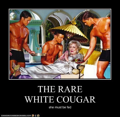 THE RARE WHITE COUGAR she must be fed